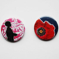 Pinback Button Badge Pack  2 Original Pink by SarahEmilyKirk