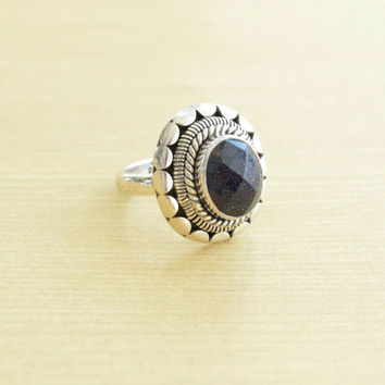 Next Stop The Galaxy Blue Goldstone Ring
