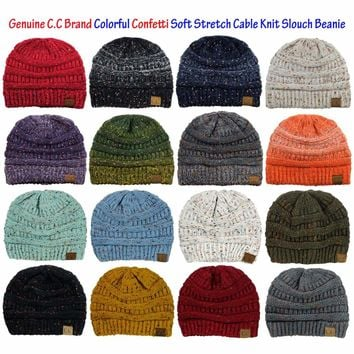 NEW! Genuine CC Beanie Colorful Confetti Soft Stretch Cable Knit Slouch Beanie