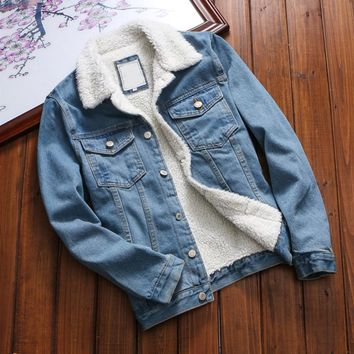 2018 New Winter Warm Fleece Denim Jacket Fashion Mens Jean Jacket Men Jacket and Coat Trendy Outwear Male Cowboy chaqueta hombre