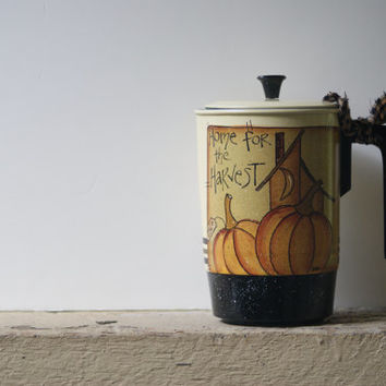 Hand Painted Coffee Pot ~Fall Decor ~Shabby Chic Pumpkins