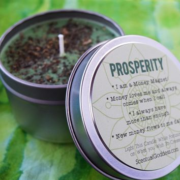 PROSPERITY Intention Candle - Focus Your Energy on Attracting More Money & Abundance Into Your Life - Great for Using With Law of Attraction