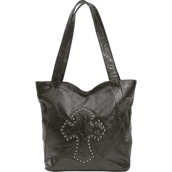 """Embassy"""" Design Genuine Leather Purse with Studded Cross"""