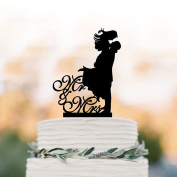 Mr and Mrs bride and groom silhouette Wedding Cake topper, cake decoration, funny wedding cake toppers silver mirror available