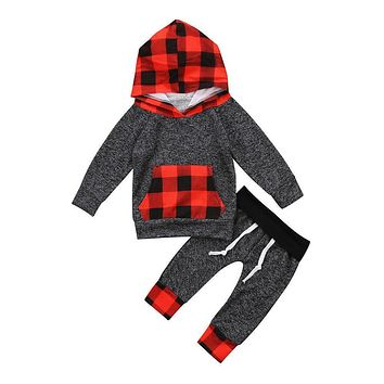 Children Clothing Set 2Pcs Newborn Baby Toddler Boy Girl Hooded Tops Pants Autumn Winter Outfits Set Baby Clothes 0-5Y