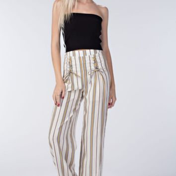 Lace-up Striped Palazzo Pants