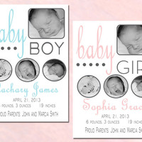 Birth Announcement, Digital Birth Announcement, Printable Birth Announcement, Photo Birth Announcement