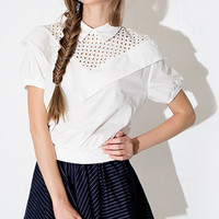 White Puff Sleeve Dress with A-line Stripe Skirt