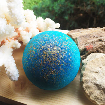 Bath Bomb - Bath Fizzie - Natural - Siren of the Sea Bath Bomb - Sandalwood + Citrus + Seaweed Bath Bomb
