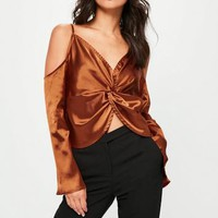 Missguided - Brown Flare Sleeve Cold Shoulder Blouse