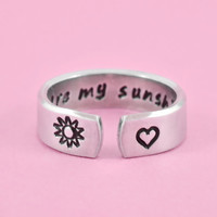 you are my sunshine - Hand Stamped Cuff Ring, Mother Daughter Ring, Sun And Heart Ring, Family Love ring