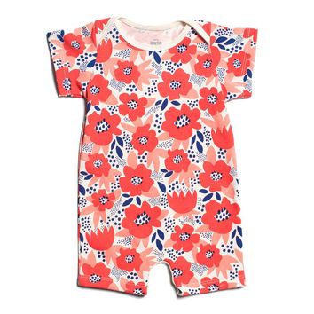 Coral Flowers Organic Romper by Winter Water Factory