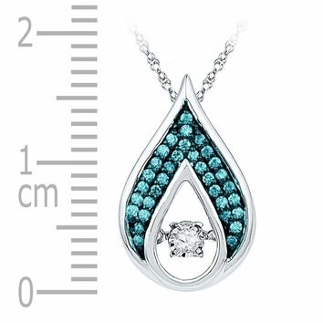 10kt White Gold Women's Round Diamond Solitaire Teardrop Moving Pendant 1-5 Cttw - FREE Shipping (US/CAN)