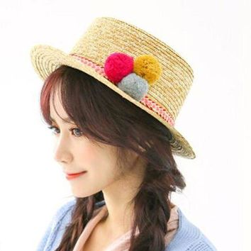 PEAP78W 2016 Sell Like Hot Cakes Sun Hats For Women Three Color Ball Fashion Summer Beach Beige Hat 1 pcs Free shipping