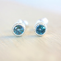 Blue Topaz Studs Sterling Silver Blue Topaz Earrings Milgrain Bezel Post Bridesmaid Earrings December Birthstone