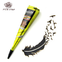 1pcs Black GOLECHA Henna Tattoo Paste Cones,Indian Mehndi Henna Tattoo Paste Black Brown Red Colored Cream For Body Paint 25g