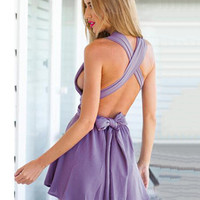 Purple Deep V-neck Sleeveless Backless Culottes Romper