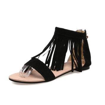Design Stylish Summer Tassels Flat Plus Size Sandals [4914876036]
