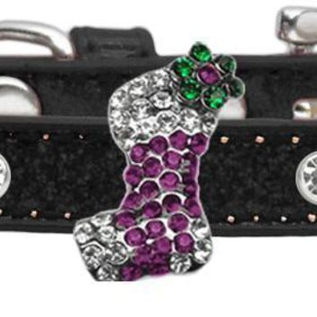 Holiday Charm Dog Collar Black Ice Cream Size 14 Purple Stocking