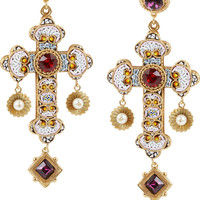 Dolce & Gabbana | Gold-plated Swarovski crystal cross clip earrings | NET-A-PORTER.COM
