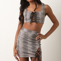 Snakeskin Lattice Lace-Up Crop Top with Mini Skirt Set