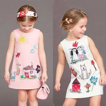 Milan Creations Baby Girls Dress Princess Costume 2017 Brand Kids Clothes Girls Dresses Scrawl Print Kids Dresses for Girls