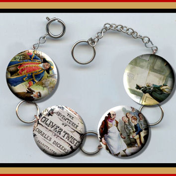 OLIVER TWIST Charles Dickens classic Charm Bracelet with Rhinestones Altered Art Jewelry