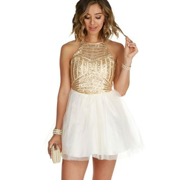 Becka-ivory Homecoming Dress