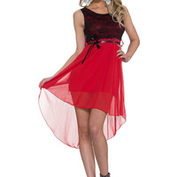 Red Floral Lace Sleeveless A-line Mini Dress