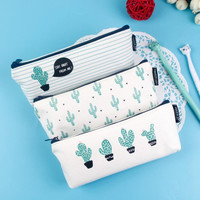 Brief Style Green Cactus Canvas Large Capacity Pencil Bag Stationery Storage Organizer Case School Supply