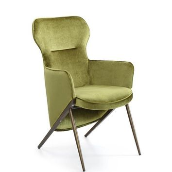 Modrest Coreen Modern Green Velvet Accent Chair
