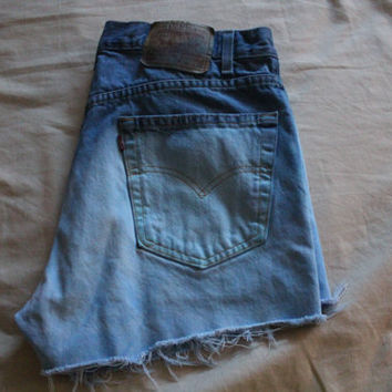 Blue Ombre High Waisted Denim Shorts