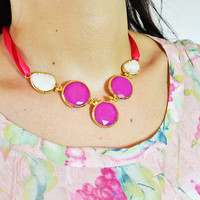 FREE SHIPMENT NECKLACE: Pink faced jade and Leaf shape white mother of pearl 5 stones necklace with pink ribbon. Gold plated, handmade model