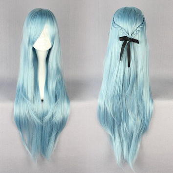 MCOSER High Quality 85cm Long Blue Anime Sword Art Online Asuna Yuuki Cosplay Wig