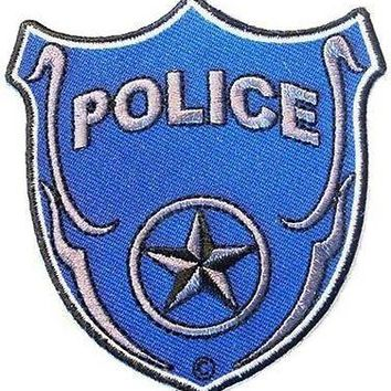 POLICE BLUE SHIELD Embroidered Nice Biker Motorcycle Vest Patch PAT-1410