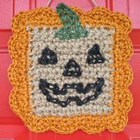 "Pumpkin Wall Art - Jack O Lantern - Halloween Decor - Wall Hanging - Eco Friendly - Handmade Jute 9"" Artisan Samhain"