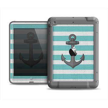 The Teal Stripes with Gray Nautical Anchor Apple iPad Mini LifeProof Fre Case Skin Set