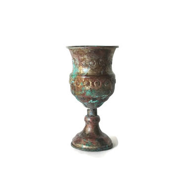 Old copper wine goblet. Metal wine glass. Embossed copper wine chalice. Old copper cup. Verdigris, copper patina. Vintage.