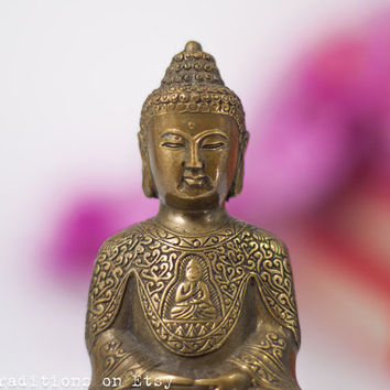 Buddha Brass Figurine Statue, Indian Brass Sculpture, Vintage Authentic Hindu Statue, Hindu Home Decor, Gift for Her