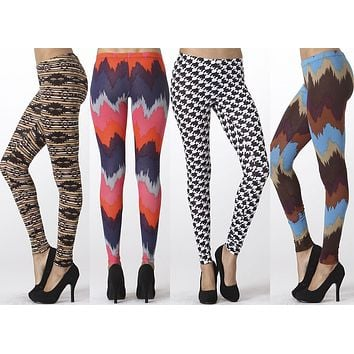 Sexy Aztec & Chevron Print Stretch Full Length High Waist Skinny Leggings