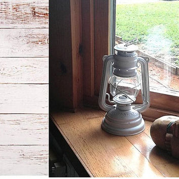 "White painted distressed vintage KARLOVAC ""LUNA"" barn lamp or railroad lantern 1946-1962"