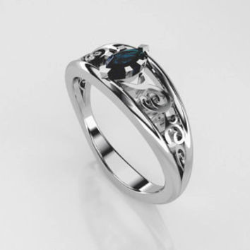 0.20ct Marquise cut teal diamond engagement ring, white gold, vintage style, solitaire engagement ring, blue diamond, filigree wedding
