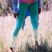 spring green & cream ombre organic cotton leggings