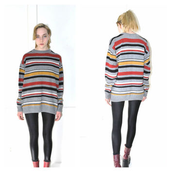 striped GRUNGE sweater vintage early 90s PULL OVER multicoloured unisex jumper os large