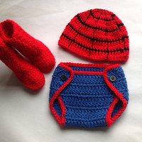 Handmade Crochet Spiderman outfit, spiderman inspiring outfit