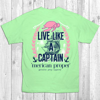 Merican Proper Live Like a Captain Ship Boat Turtle Preppy Southern Bright T-Shirt