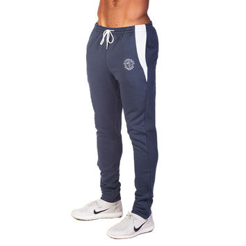 GymShark Luxe Fitted Bottoms Blue/White Mens bottoms | GymShark International | Be a visionary.