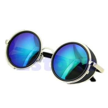[LvDing] Fashion Steampunk Sunglasses Hippie Round Retro Eyewear Sunglasses