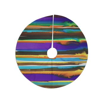 "Miranda Mol ""Multicolor Sunset"" Purple Gold Abstract Stripes Watercolor Painting Tree Skirt"