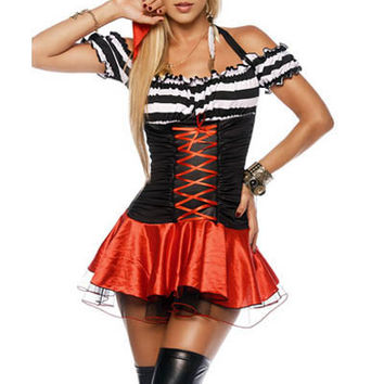 Black and Red Striped Ruched Mini Dress Pirate Costume